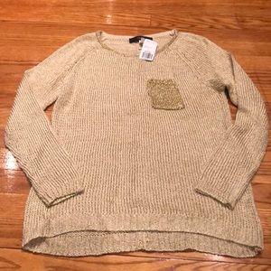 🆕Forever 21 gold shimmer sweater